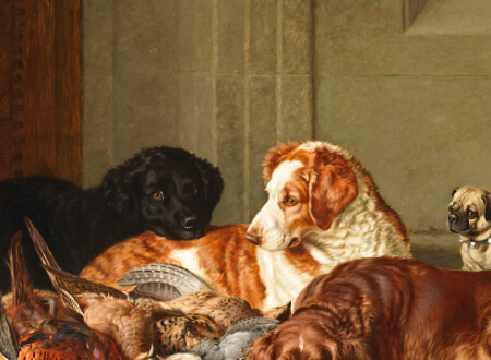 painting of several dogs, a cat and some hunting game